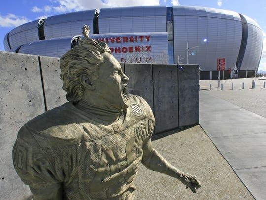 A statue of Arizona Cardinals football player Pat Tillman