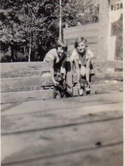Evelyn and her sister Dorothy, 95, around 1929.