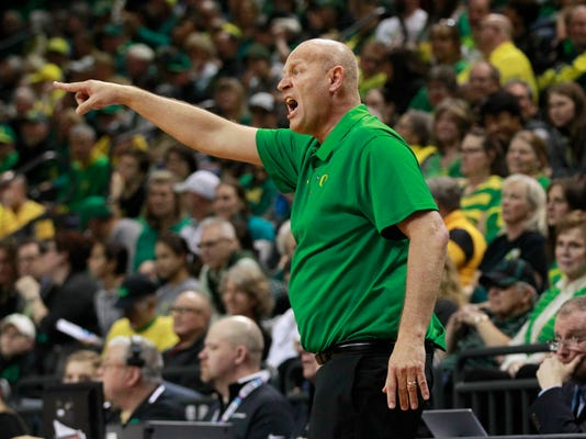 Oregon coach Kelly Graves calls to this team during the second half of a first-round game against Seattle in the NCAA women's college basketball tournament in Eugene, Ore., Friday, March 16, 2018. (AP Photo/Chris Pietsch)