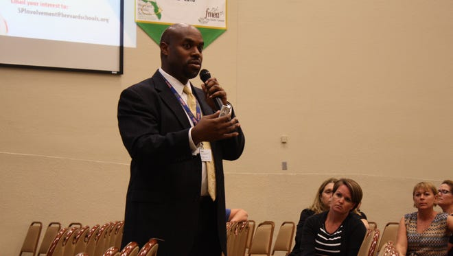 Brevard County Superintendent Desmond Blackburn presents his strategic plan to parents and educators during the 2016-17 school year at Viera High Wednesday night.