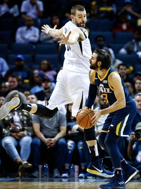 Memphis Grizzlies center Marc Gasol (left) defends