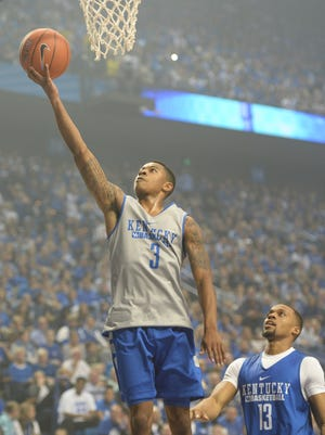 Tyler Ulis lays up the ball during the University of Kentucky Big Blue Madness at Rupp Arena in Lexington, Ky., on Friday, October 16, 2015. 