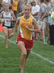 Carlisle sophomore Megan Sievers finishes third in 20:00. The  Indianola Cross Country Invitational was held Sept. 22 at the Indianola Middle School.