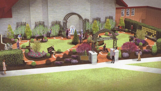An artist's rendition of the proposed Father Tony Birdsall Prayer and Reflection Garden at Corpus Christi Parish in Sturgeon Bay. The garden would be built between the church building and parish center.
