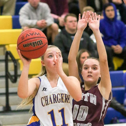 Spotswood's Amber Meagher shoots against South River's
