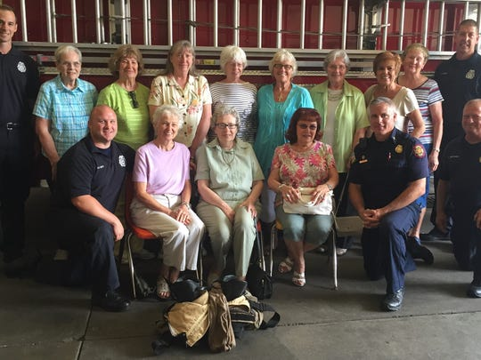 Firehouse visit A group of senior women from a westside church had a service recently and selected their local  Firemen to honor. Cookies and other goodies were baked and brought to Station 10 and in return, the local firefighters gave a tour of the station and shared some interesting facts about life as a firefighter. Posing along side a fire engine are, seated from left, Adam Smith, Pat McCormick, Marilee Hedger, Lois Wilder, Inspector Mike Doran and Captain Tony Hertweck.  Standing from left are Karen Appel, Audrey Farmer, Ellen Estes, Barbara Schwartz, Cyndi Zinn, Marilyn Watson, Linda Husky, Doris Schulz and Sean Farmer.
