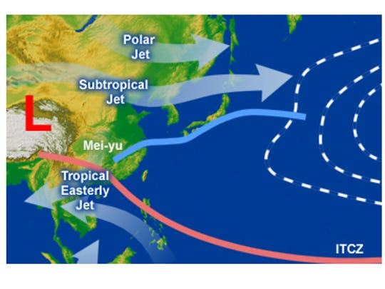 """The """"mei-yu"""" or """"baiu"""" front (in blue) stretches from China into the Pacific Ocean."""