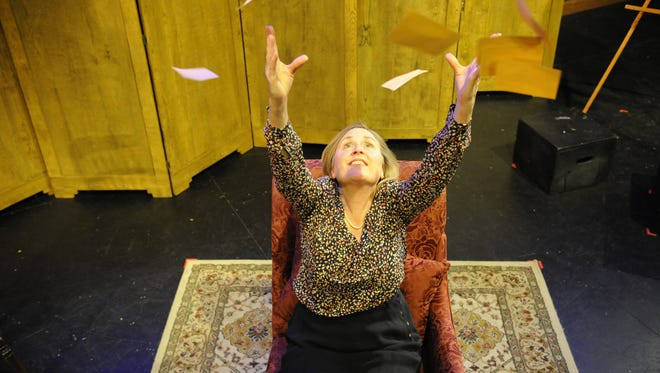 "Actor and author Susan Coromel rehearses ""Maresfield Gardens,"" a play showing Aug 11-14 at Willamette University."