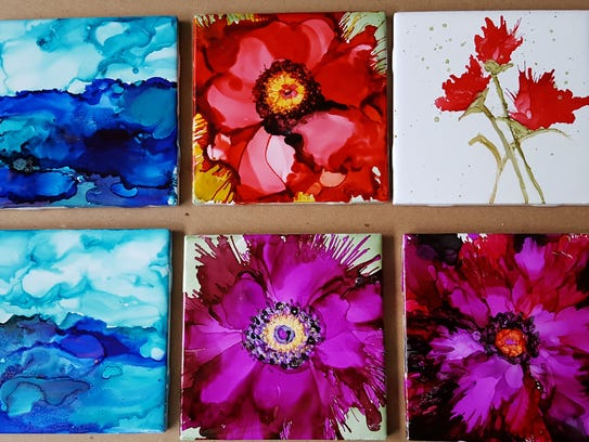 Alcohol Ink Coasters by Kathy Fessenbecker.