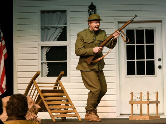 "Greg Helton portrays Alvin York in ""Sergeant York: The Play,"" which tells the story of York's WWI heroism, but also dramatizes what York accomplished in his Pall Mall community following the war. The play is being performed at West Park Baptist Student HUB through May 28."