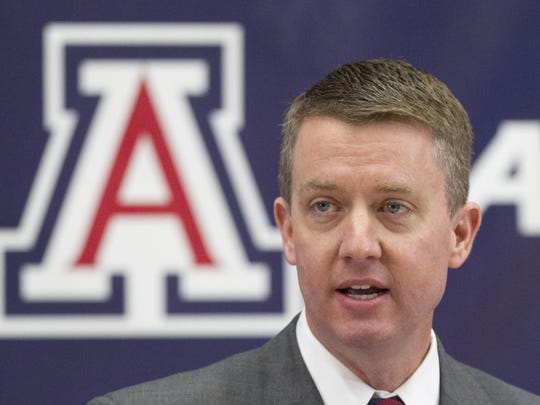 Former Arizona Athletic Director Greg Byrne at Rich Rodriguez's introductory press conference in 2011.