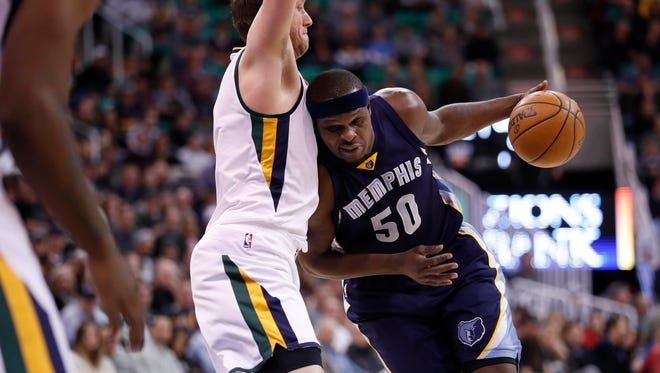 Memphis Grizzlies forward Zach Randolph (50) drives to the basket against Utah Jazz forward Joe Ingles (2) in the second quarter at Vivint Smart Home Arena.