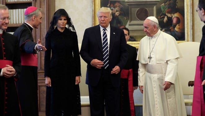 President Trump and first lady Melania Trump meet Pope Francis on May 24, 2017, at the Vatican.