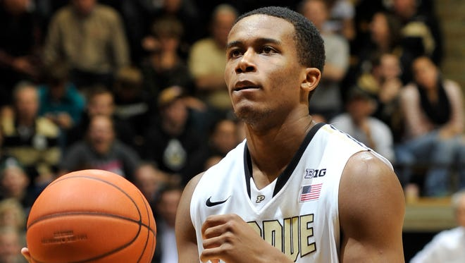 Purdue Boilermakers forward Basil Smotherman (5) prepares to shoot a free throw in the second half against the Central Connecticut State Blue Devils at Mackey Arena, Nov. 13, 2013.