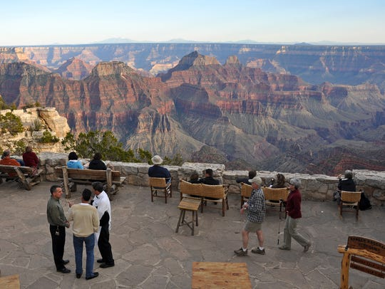 The view from the patio at the Grand Canyon Lodge on
