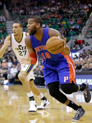 Detroit Pistons forward Greg Monroe (10) will miss Saturday's game against the Bulls and Sunday's game against the Celtics.