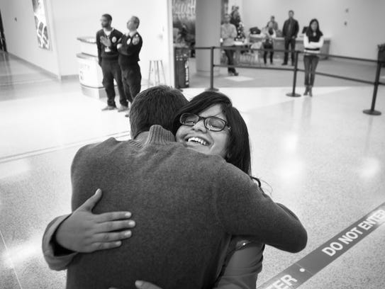 Dec. 20, 2015: Prerna is greeted by her host brother,