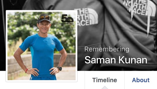 """A screenshot of Saman Kunan's Facebook page shows the account changed to """"Remembering"""" status."""