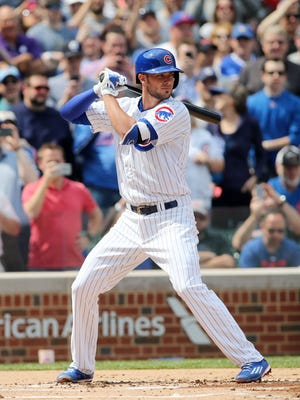 Kris Bryant strikes out in his first at bat of his MLB debut.