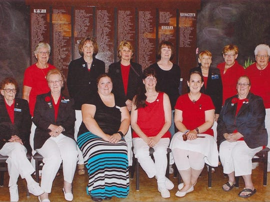 Pictured, in late June, are the American Legion (Montgomery-Plant-Dudley Unit No. 10 of Wausau) Auxiliary Unit Officers elected to serve for 2016-2017. In the front row, from left to right, are Mary Jo Hildensperger, chaplain, Sally Szalewski, second vice president, Sarah Stiff, eighth district president, Lynn Keen, historian, Amanda Szalewski, president, and Linda Tryczak, first vice president; Back row: Gladys Beese, treasurer, Fran Bender, the Rev. Barb Drake and Dawn Sapp, all of whom are members-at-large, Ruth Henkelman, junior sergeant at arms, Christine Mertes, senior sergeant at arms, and Eunice Baumann, secretary.
