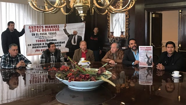 Supporters and officials with the National Regeneration Movement party gather during the recent announcement of leader Andrés Manuel López Obrador's visit to El Paso.