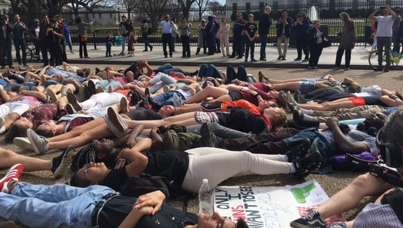 Students protest for gun reform outside the White House.
