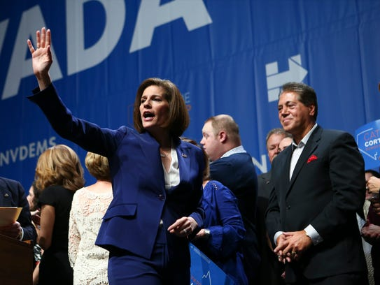 Sen.-elect Catherine Cortez Masto, D-Nev., waves to