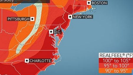 What the hot temperatures will really feel like, July 7, 2016.
