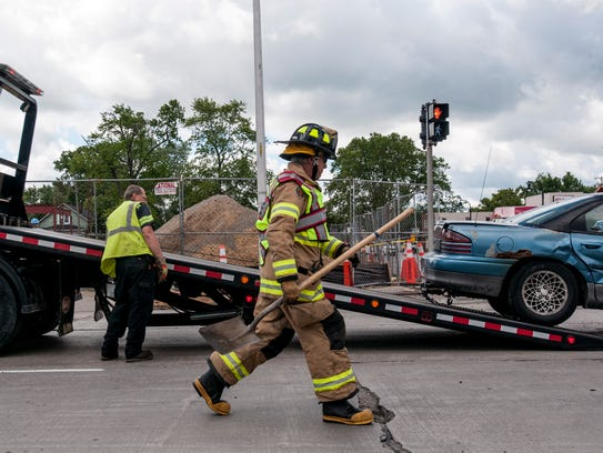 First responders work the scene of an accident Tuesday,