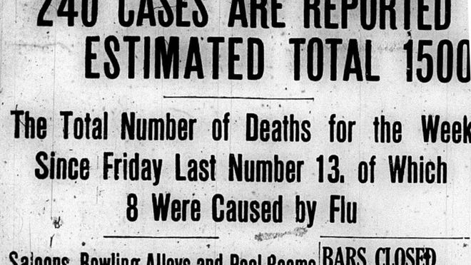 A headline in the Taunton Daily Gazette about the Influenza epidemic on Oct. 5, 1918.