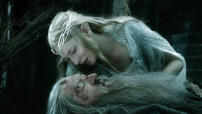 "Cate Blanchett and Ian McKellen in ""The Hobbit: The Battle of the Five Armies."""