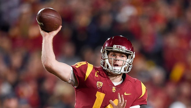 Southern California Trojans quarterback Sam Darnold (14) throws a pass against the UCLA Bruins during the second half at Los Angeles Memorial Coliseum.