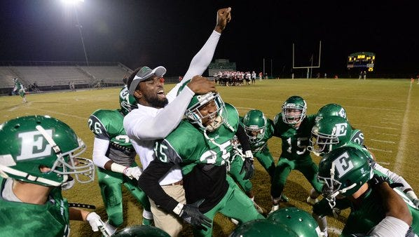 The Easley High School football team prepares to face Greenville High Friday night