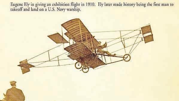 Giving an exhibition flight in 1910, Eugene Ely from York Township in the Williamsburg area, made history by being the first man to take off and land on a U.S. Navy warship.