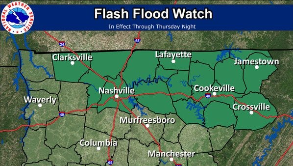 Flash flood issued for northern parts of Middle Tennessee