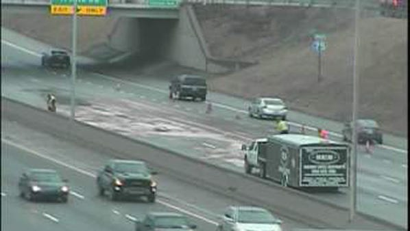 A fuel spill still blocks the left lanes of northbound I-75 near I-696.