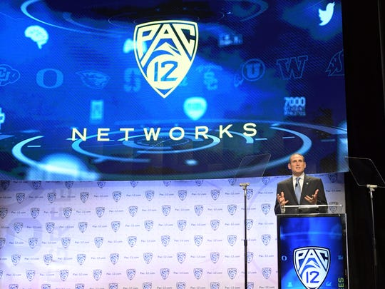 Pac-12 commissioner Larry Scott speaks at Day 1 of the 2016 Pac-12 Media Day on July 14, 2016, in Hollywood, Calif.