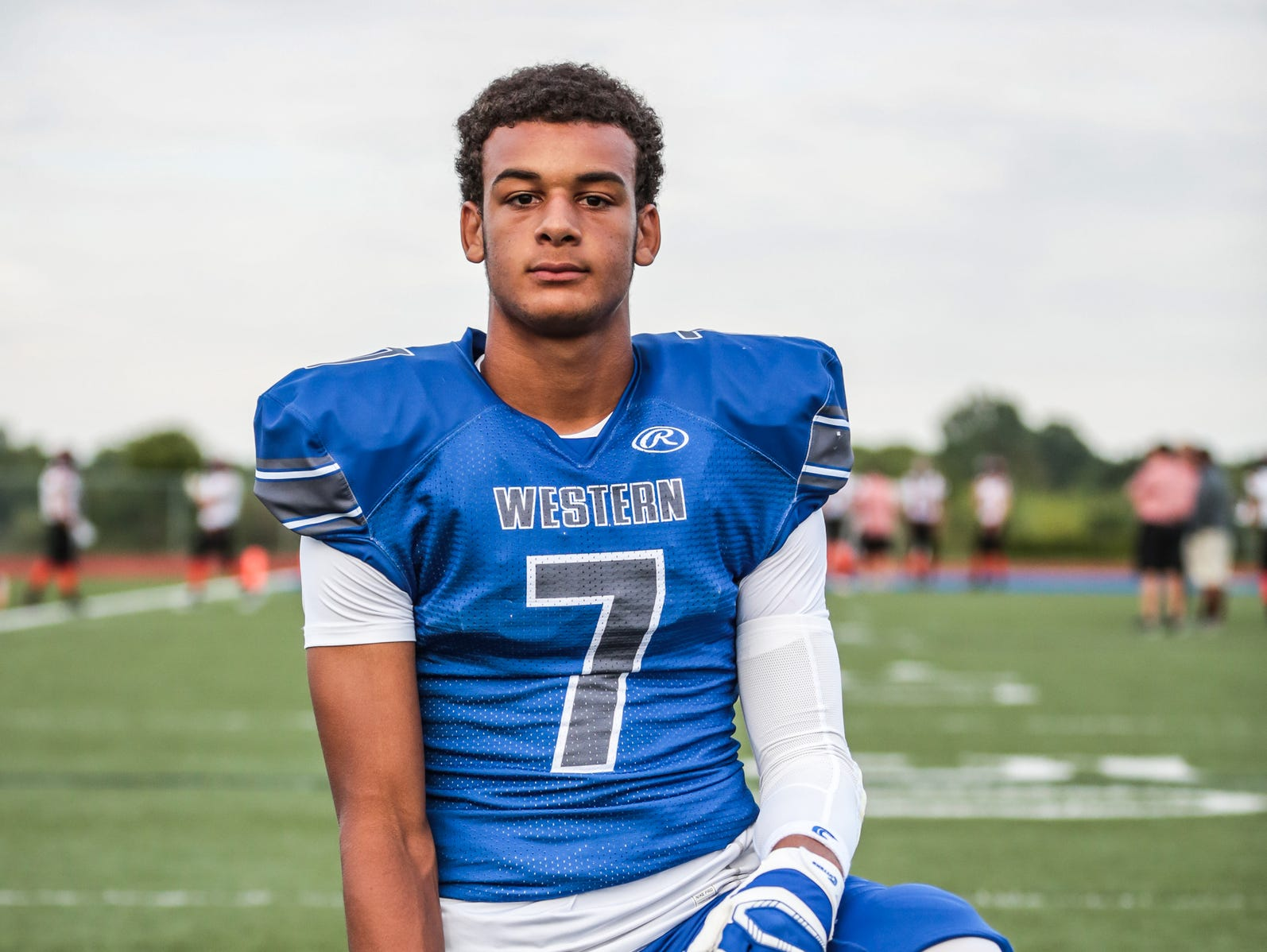 Walled Lake Western's Cody White photographed before a game against Northville on Sept. 9, 2016 at Warriors Stadium in Walled Lake.