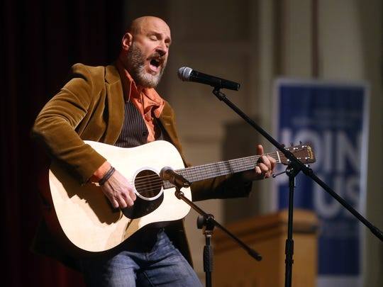 Steve Mauriello performing as Steevan Mars sings during Media Day at Morristown High School for finalists of the 10th Anniversary show of Morristown Onstage to be held at the Mayo Performing Arts Center.  January 7, 2017, Morristown, NJ.