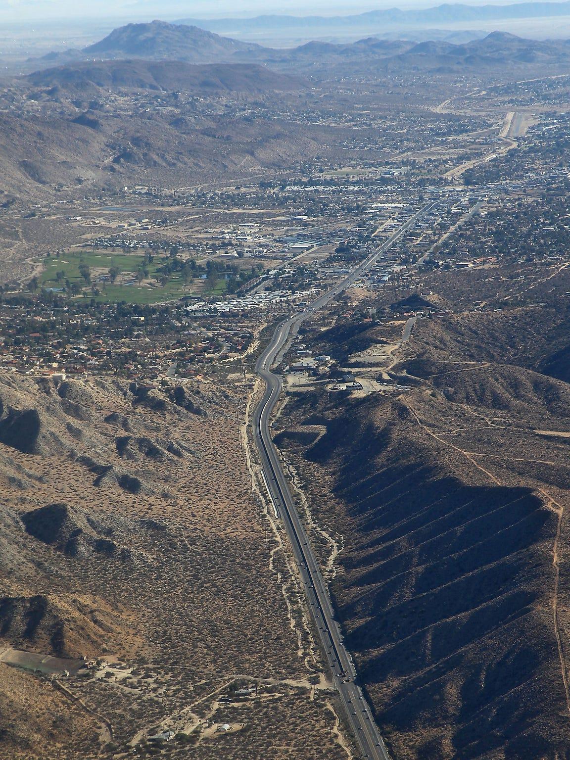 Aerial view of Highway 62.