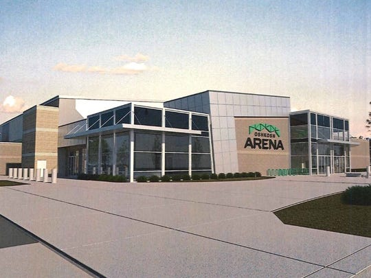 This rendering shows revised plans for the incoming Wisconsin Herd arena along South Main Street.