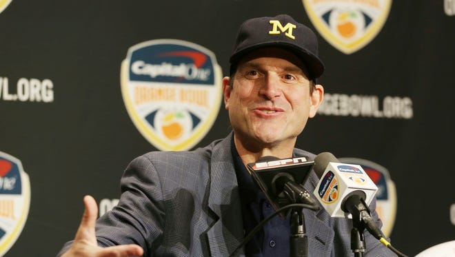 Michigan football coach Jim Harbaugh gestures during a news conference Thursday, Dec. 29, 2016, in Fort Lauderdale, Fla.