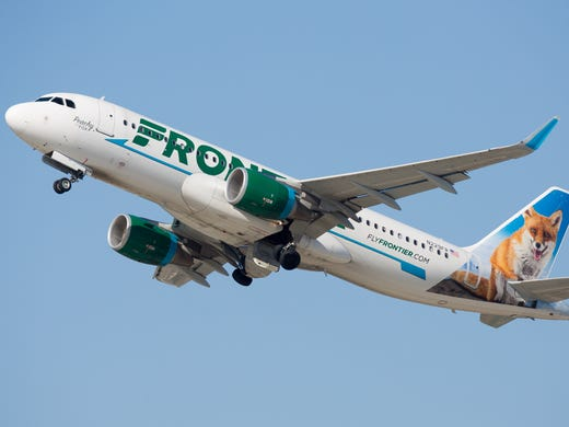 A Frontier Airlines Airbus A320neo takes off from Los