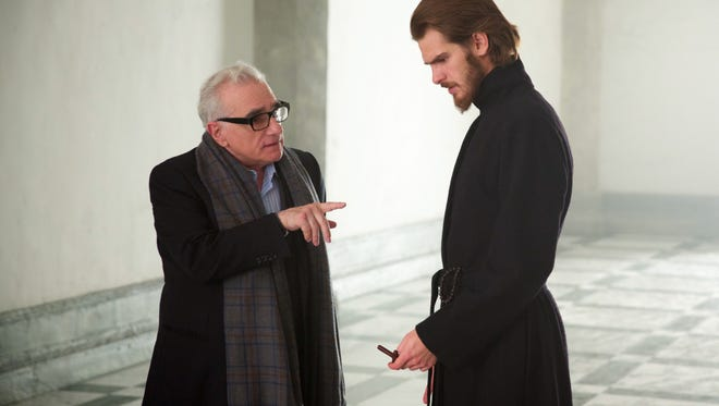 Director/writer Martin Scorsese and Andrew Garfield on the set of 'Silence.'