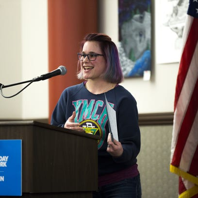 Caitlyn Gollata tells her story during the Kids in