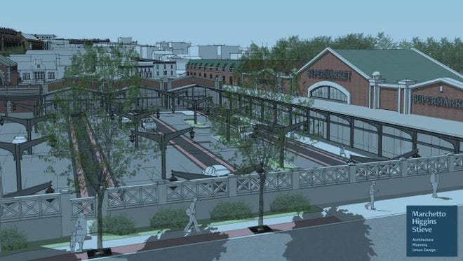 An architect's rendering shows a Lackawanna Train Station platform canopy and stanchions being preserved on a mixed-use site proposed in Montclair.