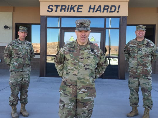 Leaders of the 2nd Armored Brigade Combat Team, from left, are Maj. Paul Godson, Col. Chuck Lombardo and Command Sgt. Maj. Kevin DaGraca.