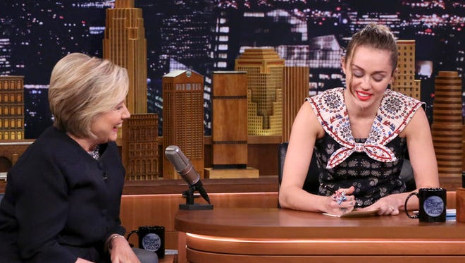 Miley Cyrus pens a touching thank you note to Hillary Clinton on Wednesday's 'Tonight Show.'