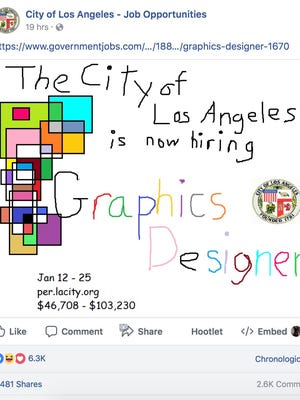 A screenshot of the Facebook page for the city of Los Angeles.