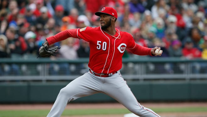 Amir Garrett pitches in the MLB exhibition game between the Reds Futures Team and the Cincinnati Reds at Fifth Third Field in downtown Dayton, Ohio, on Saturday, April 1, 2017. The Reds beat a team of its top prospects 5-1 in the second-ever Futures Game hosted by Single-A affiliate Dayton Dragons,